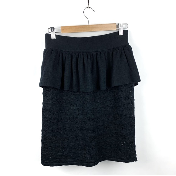 Anthropologie Dresses & Skirts - SALE Anthro Knitted & Knotted Black Peplum Skirt M